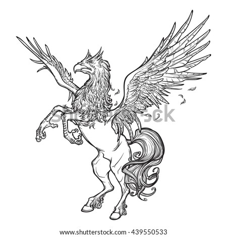 Hippogriff greek mythological creature.. Legendary beast concept drawing. Heraldry figure. Vintage tattoo design. Sketch isolated on white background. EPS10 vector illustration.