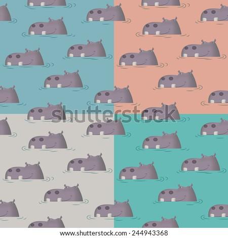 Hippopotamus smiling in the water four tone seamless pattern cartoon kid design - stock vector