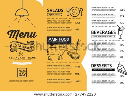Hipster Vintage Art Restaurant Menu Design Stock Vector