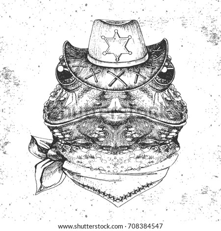 hipster animal frog hand drawing muzzle of frog