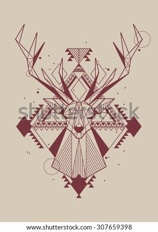 hipster background with vector deer - stock vector