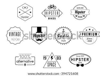 Hipster Badges Vector Black Logos - stock vector