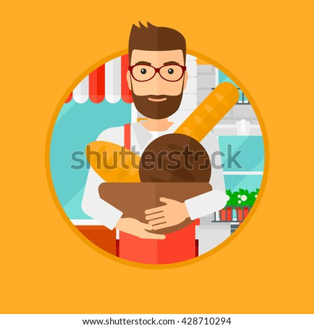 Hipster baker with beard holding basket with bakery products. Baker standing in front of bakery. Baker with bowl full of bread. Vector flat design illustration in the circle isolated on background. - stock vector