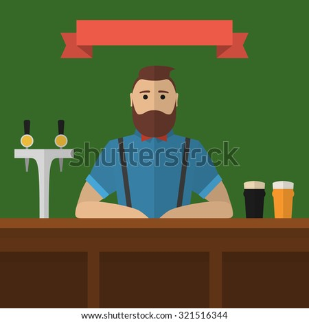 Hipster bartender. Vector vintage flat style barman serving beer in pub. Craft beer bar. - stock vector