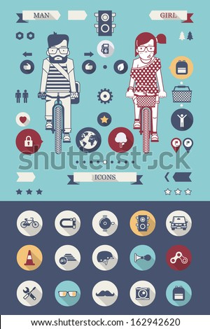 hipster bicycle background with flat icons - stock vector