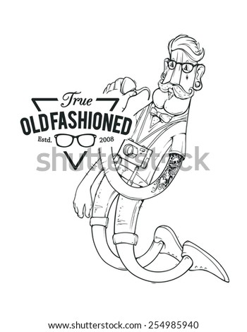 Hipster bizarre character with brand emblem. Vector illustration. - stock vector