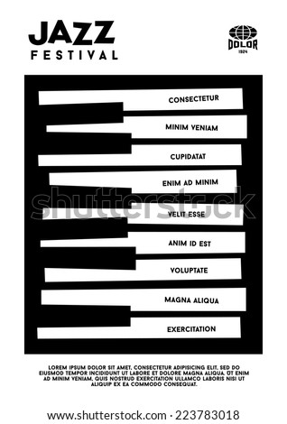 hipster black and white  jazz festival poster with piano  keyboard - stock vector