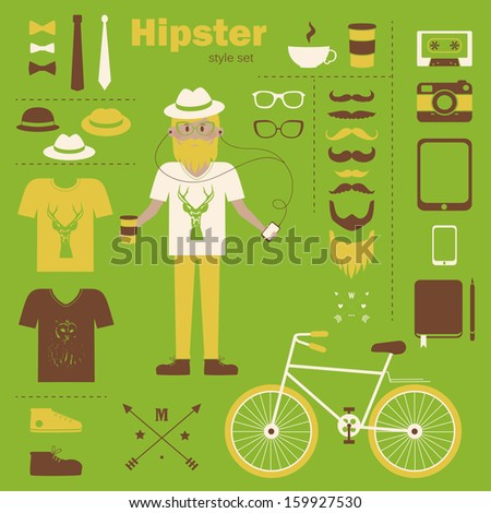 Hipster boy infographic concept background with icons