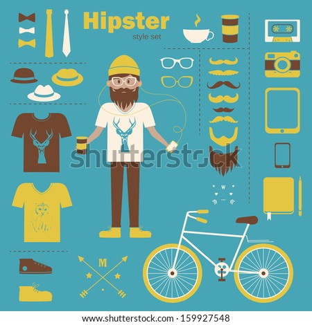 Hipster boy infographic concept background with icons - stock vector