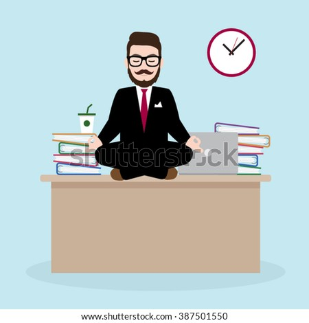 Hipster Businessman Meditates on working desk - stock vector