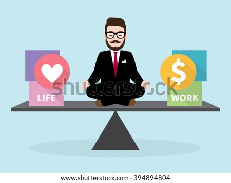 Hipster Businessman Meditation with Business concept Work Life Balance - stock vector