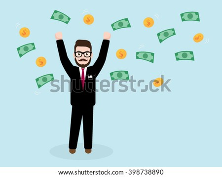 Hipster Businessman Throwing Money Up