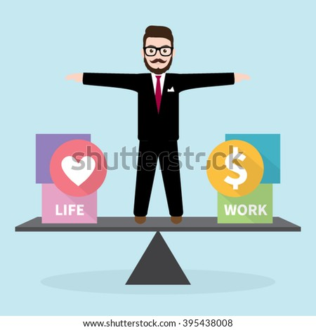 Hipster Businessman with Business concept Work Life Balance - stock vector