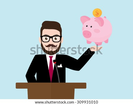 Hipster Businessman with piggy bank at a podium - stock vector
