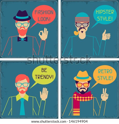 Hipster cards in retro style. - stock vector