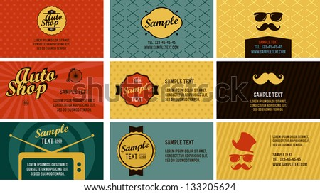 Hipster cards template - stock vector