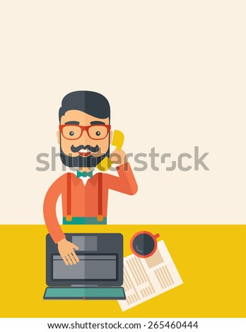 Hipster Caucasian online customer service operator with beard smiling while talking to his customer inside his office. Business communication concept. A contemporary style with pastel palette, beige - stock vector
