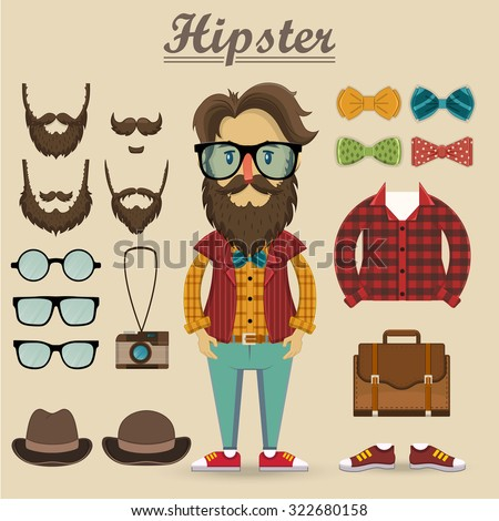 Hipster character and hipster elements, items, fashion, vector illustration   - stock vector