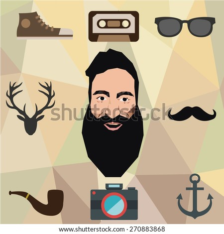 Hipster character design with hipster elements and icons.Vector illustration - stock vector