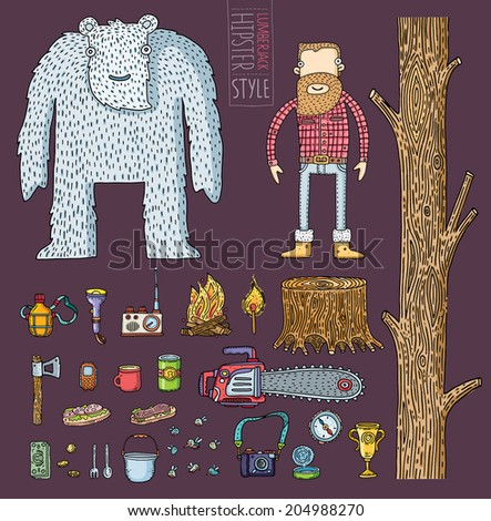Hipster character design with hipster elements for camping.Vector illustration