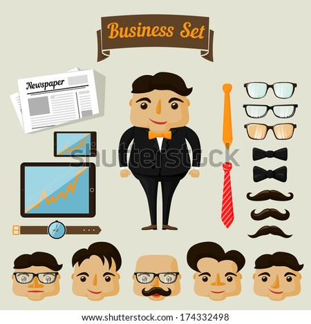 Hipster character elements for business man with customizable face look and clothing vector illustration - stock vector