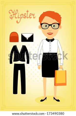 Hipster character elements for business woman with customizable face look and accessory vector illustration - stock vector