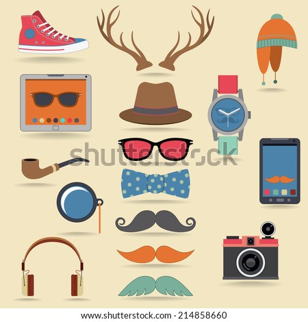 Hipster character pack design elements with moustaches and accessory isolated vector illustration - stock vector