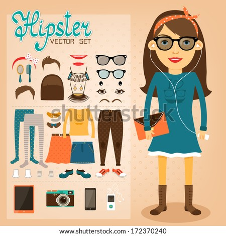 Hipster character pack for geek girl with accessory clothing and facial elements vector illustration - stock vector