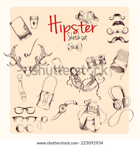 Hipster character pack sketch set with moustaches and accessory isolated vector illustration - stock vector