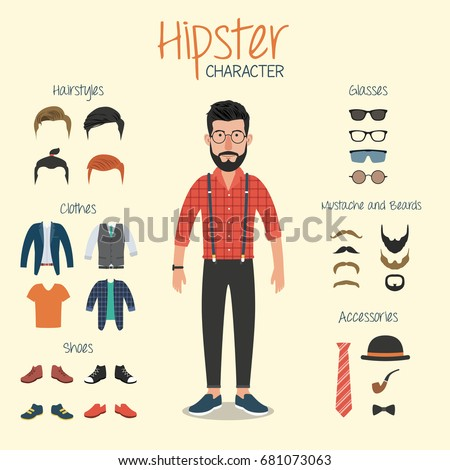 Hipster Character Hipster Elements Stock Vector 681073063 ...