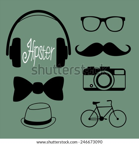 Hipster character  with hipster elements and icons - stock vector