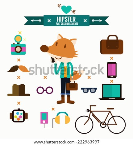 Hipster character with hipster elements and icons. flat design infographics. vector illustration