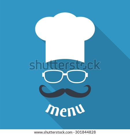 Hipster chef  hat with mustache and glasses. Foods Service icon. Menu card with long shadow.  Simple flat vector illustration, EPS 10. - stock vector