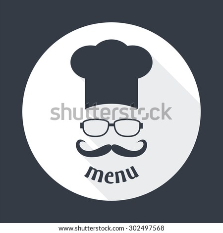 Hipster chef  hat with mustache and glasses. Foods Service round icon. Menu card with long shadow.  Simple flat vector illustration, EPS 10. - stock vector