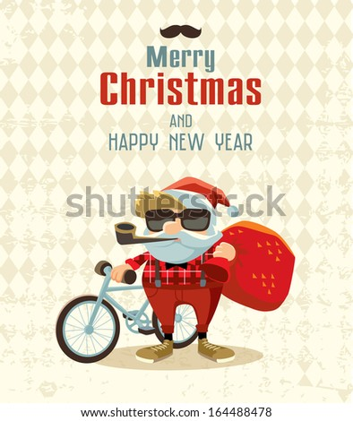 Hipster Christmas - stock vector