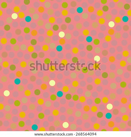 Hipster circle colorful abstract retro seamless pattern in vector. Seamless background with dots can be used for wrapping paper, postcard, wallpaper, pattern fills, web page, surface textures.