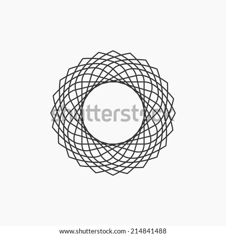 Hipster circle logo. Black and white design. Outline style. Conceptual minimal icon. Use for card, poster, brochure, banner, web. Easy to edit. Vector illustration - EPS10. - stock vector