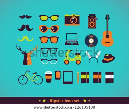Hipster concept icon set - stock vector