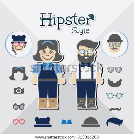 Hipster customizable flat fashion hipster trendy geek with beard mustache hippie glasses style stock, vector illustration hipster man hipster girl - stock vector