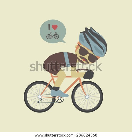 hipster cyclist, flat and pastel style - stock vector