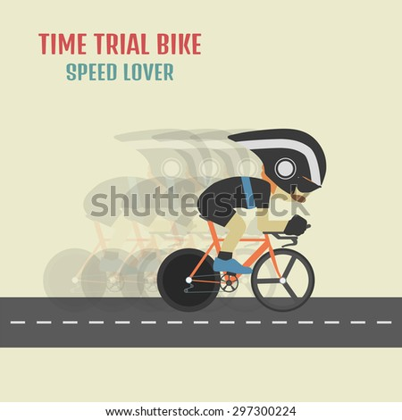 hipster cyclist on time trial bike, flat and pastel style - stock vector