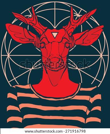 hipster deer sacredgeometry vector illustration - stock vector