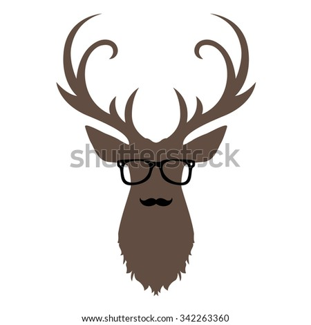 Hipster Deer with Glasses - stock vector