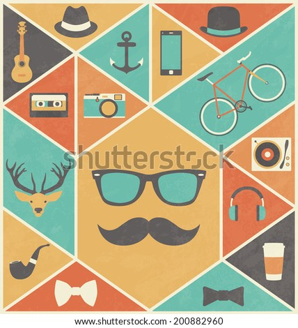 Hipster Design Elements - Retro Style Icons - stock vector