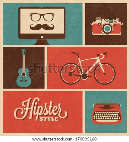 Hipster Design Icon Set - stock vector