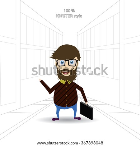 Hipster design with hipster elements and icons - stock vector