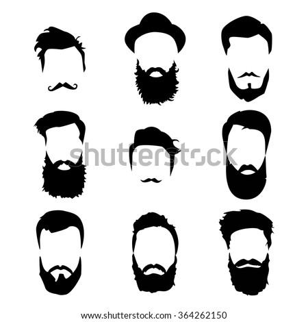 Hipster detailed hair and beards set fashion bearded man long beard