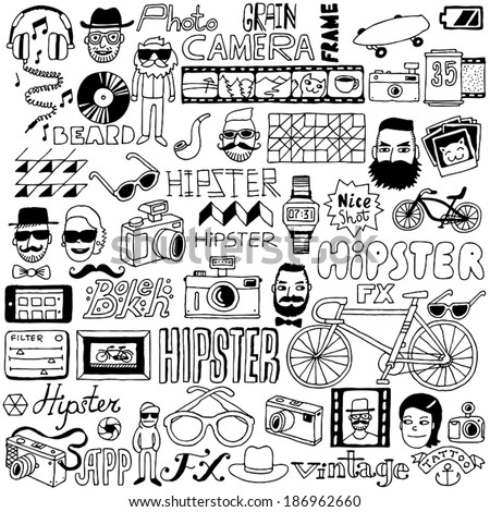 Hipster doodle mega set. Vector illustration. - stock vector