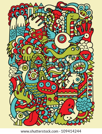 Hipster Doodle Monster Collage Background - stock vector