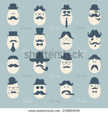 Hipster Easter eggs gentlemen dressed as a  businessman pattern for easter day vector design, vintage color tone - stock vector